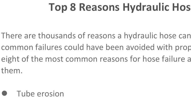 Top 8 Reasons Hydraulic Hoses Fail